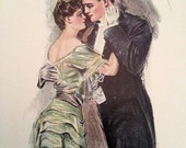 THE DANCE- Howard Chandler Christy Vintage 1906 Book Print Victorian Color Lithograph to Frame