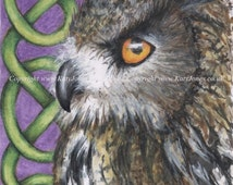 Original ACEO drawing - Celtic Eagle Owl - 2 1/2 x 3 1/2 inches