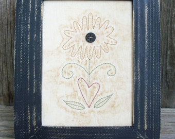 Country Rustic Daisy Stitchery, Farmhouse, Cabin Decor, Primitive, Flower, Embroidery, Folkart, Handmade, Rustic, Picture
