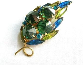 Vintage Sapphire Blue, Emerald & Olivine Green Rivoli Rhinestone Layered Leaf Brooch or Pin