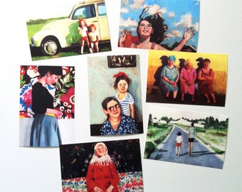 set of 7 printed postcards- Printed on a fine quality 250 gram paper - 4x6 inch card-paper goods
