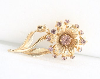 Large Purple Rhinestone Flower Brooch Vintage Amethyst Purple Riveted Pin