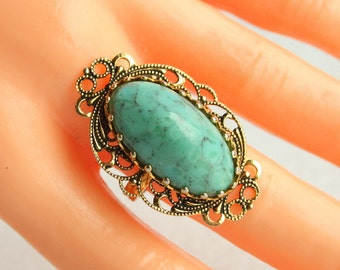 Vintage Turquoise Ring Signed Spain Antiqued Gold Filigree Large Oval Turquoise Stone Cabochon