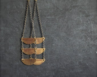 Etched Brass Half Moon Ladder Dangle Earrings Oxidized Chain Long Rustic Tribal Metalwork Boho Jewellery