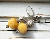 Butternut earrings, yellow jade gemstone earrings,silver hill tribe beaded earrings, shades of autumn earrings