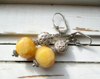Butternut earrings, yellow jade gemstone earrings,silver hill tribe beaded earrings, shades of autumn earrings