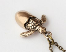 Sea Turtle Hatchling Necklace Hatching Sea Turtle Egg Shell in Solid Bronze 362