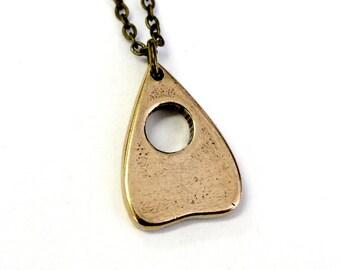 Solid Bronze Planchette Necklace Mystic Oracle Ouija Planchette Pendant 390