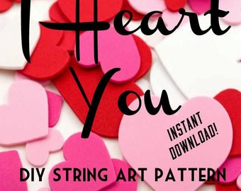 DIY Heart String Art Pattern Download - LARGE