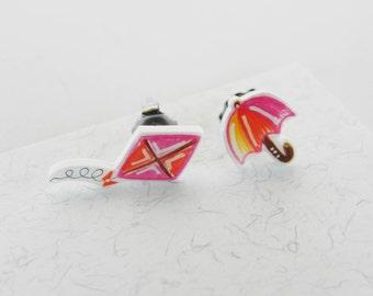 Umbrella & kite earrings, handmade plastic studs