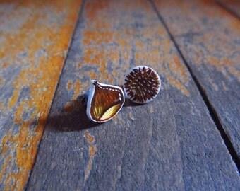 Chestnut earring studs, illustrated fall earrings