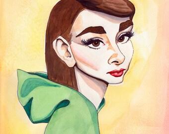 Audrey Hepburn Illustration - Watercolor Caricature Portrait