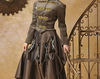 Miss Giselle goes Gothic ~ Victorian Steampunk 2-piece ensemble in satin and taffeta ~ corset jacket and full skirt with hardware