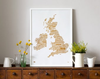 British Isles Limited Edition Foil Blocked Type Map