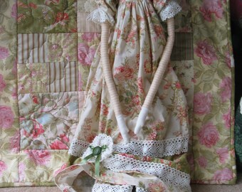 e- Pattern - Audrey and her Little Quilt - long tall country rag doll pattern