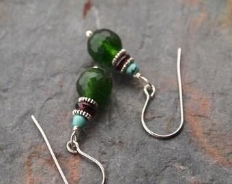 Turquoise, Garnet Green Agate Earrings