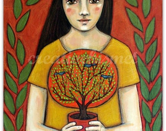 SALE - Tree Keeper - Girl with Tree - Art Print by Regina Lord