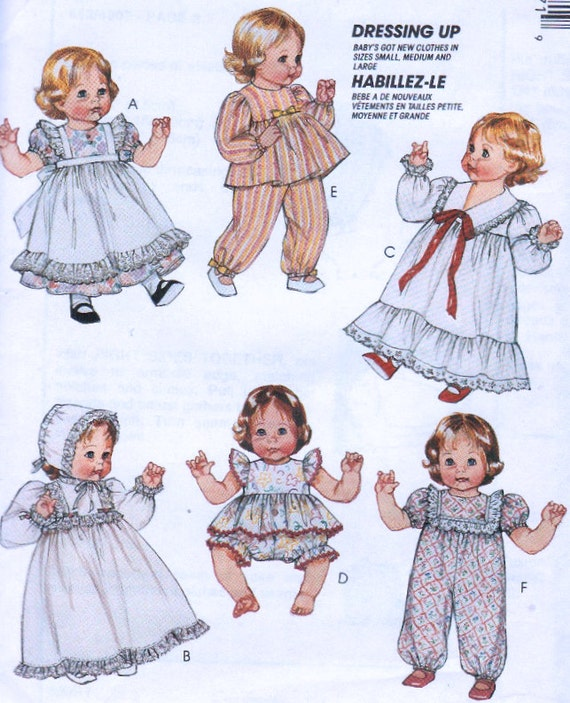 vintage baby doll clothes sewing pattern dolls wardrobe in 3