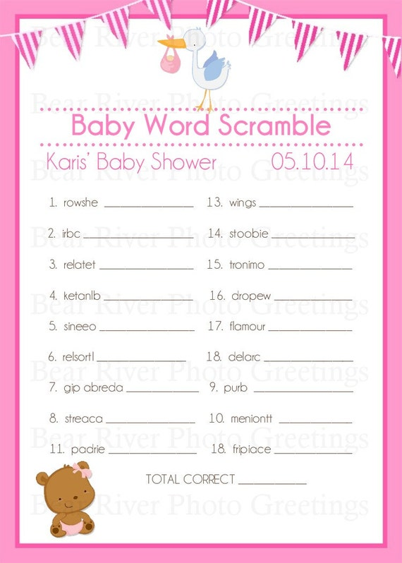 Baby Shower Game -- Printable Word Scramble Game -- Digital File