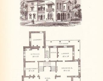 1892 Architecture Print - House Blueprint - Vintage Antique Art Illustration Interior Design Great for Framing 100 Years Old