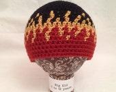 Crocheted Flame Hat - Terra Cotta, Goldenrod, Black - 5 Sizes