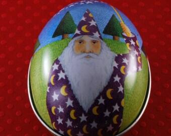 VTG Egg SHaped Tin Wizard Stars Made in Switzerland Keepsake Stash Tin