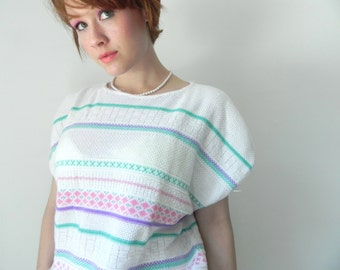 Nordic Pastel Vintage Sweater Blouse