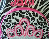 Personalized crown backpack. Zebra print, Hot Pink, and Leopard. Appliqued. Girls backpack. back to school. monogrammed.Diaper bag.