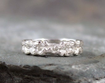 Sterling Silver Double Twig Ring Band - Stacking Ring - Mens or Ladies Wedding Band - Branch Ring - Rustic Nature Inspired Jewellery