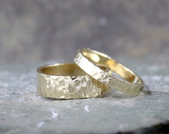Hammered 14K Yellow Gold Wedding Bands - His and Hers - Hammered Texture Band - Commitment Rings - Matching Wedding Rings - Wedding Band Set