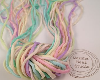 Hand Painted Silk Cord - Silk Ribbon - DIY Craft - Jewelry Supplies - Wrap Bracelet - Craft Supplies - 2mm Silk Cord Strands Pastels Color