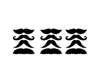 Set of 12 mustache decals  DB352