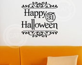 Happy Halloween with 31 and Flourish - bat vinyl lettering wall sayings decal sticker home decor