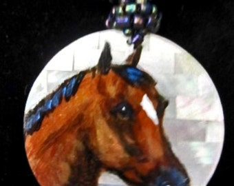 Quarter horse art hand painted necklace  1