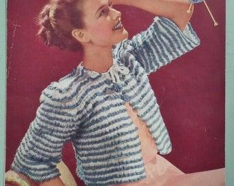 Vintage 1940s Knitting Pattern Womens Bedjacket bed Jacket Cropped Cardigan Striped 40s original pattern
