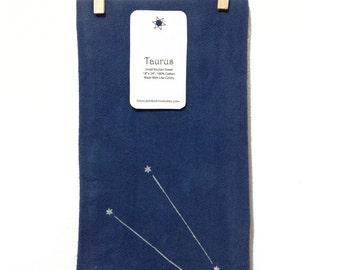 Taurus - Bull Zodiac Constellation - Navy Blue Screenprinted Small Kitchen Towel