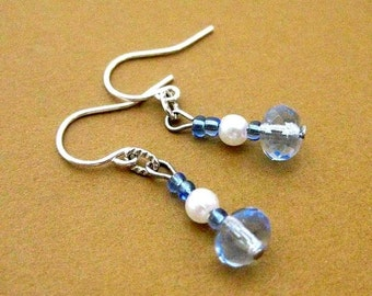 Blue Crystal Earrings. Dangles with Pearl and European Glass. Yours Forever