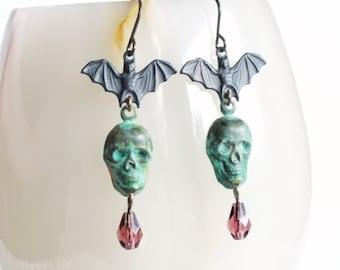 Skull Bat Earrings Halloween Earrings Skull Earrings Bat Jewelry Verdigris Dangles Green Purple Victorian Halloween Jewelry