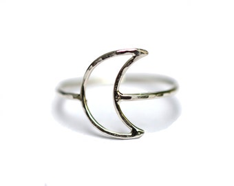 Crescent Moon Ring, Half Moon Ring, Astrology Symbol