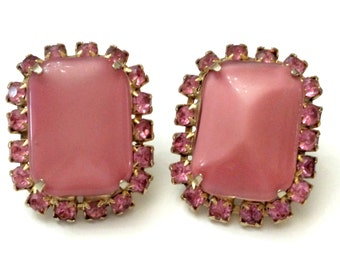 1960s Art Glass Earrings, Large Pink Satin Glass Clip Earrings, Feminine Costume Jewelry, Vintage Juliana Rhinestone Earrings Retro Jewelry