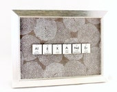 Science Name-Sign - Personalized Periodic Table of Elements - Chevron Feathers Nature Robot - Silver Frame