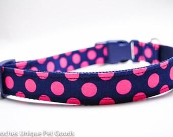 Hot Pink Navy Polka Dot Dog Collar / Buckle or Martingale Dog Collar / Pink Dots