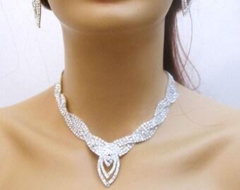 Silver Bridal Set, Rhinestone Bridal Jewelry Set, Crystal Wedding Necklace, Wedding Rhinestone Jewelry, Bridal Crystal Jewelry Set