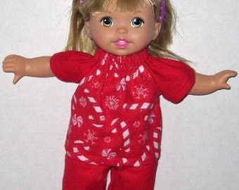 Little Mommy, Dress Up Cuties, Doll Clothes, Christmas Candy Cane Pajamas, 13 14  inch Doll Clothes,  Red and White