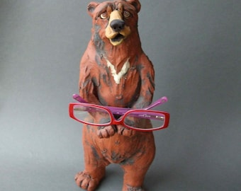 Bear Ceramic Animal Sculpture and Holder