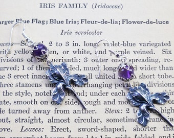 Amethyst and Silver Iris Earrings, Hand Crafted, February Birthstone, Genuine Amethyst Gemstone, Flower, Purple, Pierced or Non-Pierced Clip
