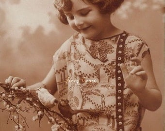 Child with Birds in Sepia Vintage Photo Postcard Ephemera.  Digital Download.