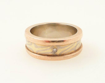 Size 6 Vintage Micheal Daniels Gold Mokume-gane and Diamond Band