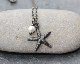 Black starfish and pearl necklace - gunmetal pewter sea star charm, white Swarovski pearl - black brass chain - free shipping USA