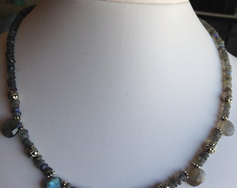 Necklace — Labrodorite Briolettes and Rounds with Pewter Accents